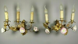 RARE French Antique Gilt Brass Porcelain Flowers Wall Sconces PAIR Lights 19thC