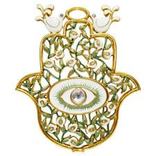 "4"" Green Enamel Evil Eye Protection Hamsa Hand Wall Hanging Home Decor Gift Box"