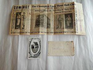 1910 Hopkins Bros womens baseball team poster & rppc real photo postcard Iowa IA