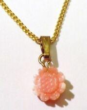 pendentif chaine bijou vintage rétro couleur or fleur vrai corail rose * 4899