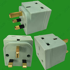 Salvia Verde 2 forma 13 Amp Reino Unido 3 Pin Plug Socket Splitter Adaptador, Tv, Portátil