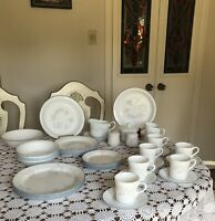 CORELLE BY CORNING- PINK TRIO- BREAKFAST/DINNER SET FOR 6 - 44 Pieces