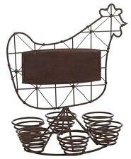 Coquetier porte-oeufs poule fer forgé brun coq