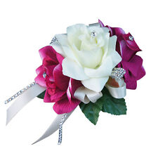 Wrist Corsage - Fuchsia with Ivory ribbon and bling