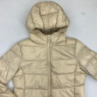 Uniqlo Womens Beige Solid Hooded Ultra Light Down Puffer Jacket Size Small