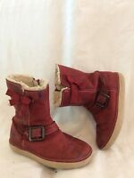 Girls Clarks Red Leather Boots Size 8F