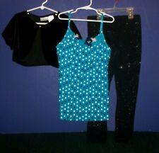 Girl's Black Slacks/Leggings-Blue Cami Top-Black Bulero Jacket-sz Med (10-14)
