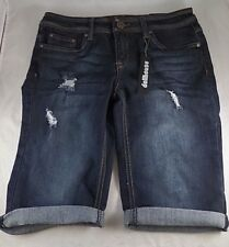 NWT Women's Dollhouse Deconstructed Rolled Cuff Bermuda Jean Shorts Sz 7