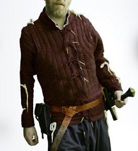 New Medieval Brown Color Padded Medieval Thick Padded Gambeson Reenactmnent