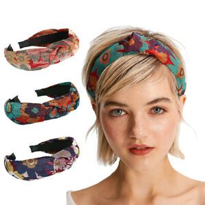 Vintage Women Knot Headband Embroidery Floral Hairband Head Band Hair Accessory