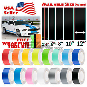 Gloss Color Racing Stripes Vinyl Wrap For Ford Mustang Stripe Sticker 10FT /20FT