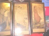 Three Framed Art Pictures Prints~ Abstract, EARTH, AIR AND FIRE FROM ORIG PRINTS
