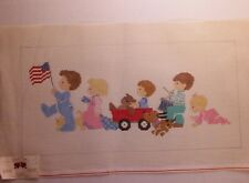 NWT Handpainted Needlepoint Canvas Cute Parade Flag 10 x 20 Needle Touch