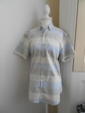 Men's cool & casual, collared, Peacocks, striped, short-sleeved shirt - Size S