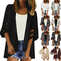 Women Mesh Panel 3/4 Bell Sleeve Pure Or Print Chiffon Loose Kimono Cardigan Top