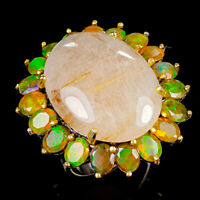 Handmade30ct Natural Rutilated Quartz 925 Sterling Silver Ring Size 8.5/R121964