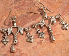 Frida Kahlo Style, Sterling Silver Yalalag Oaxaca Mexican Cross Earrings