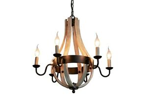 6-Light Chandelier Lighting Black & Wood Country/Farmhouse. Large New E14
