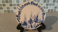 Vtg Casey Pottery Oven Bun Warmer Blue & Cream W/Floral Pattern Made in Texas