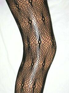 M/L Black Lace Tights. Ladies 14-18. Fishnet Patterned
