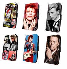 David Bowie Inspired leather flip phone case Rebel Rock Singer iphone samsung