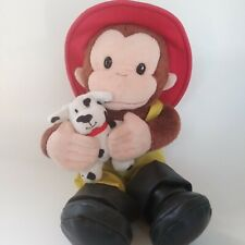 Curious George Fireman 12in Plush with Dalmatian Puppy Dog Plush Stuffed Toy