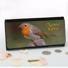 Personalised British Red Robin Bird Large Ladies Money Coin Purse Mum Gift SH212