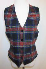 Vintage Liz Claiborne Tartan Plaid Button Front Vest Women's 8 Wool Blend