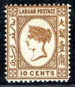 North Borneo LABUAN QV Stamp SG.8 10c Brown (1880) Mint LMM Cat £200 XBLUE3