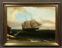19th Century Oil Painting attrib. to Thomas Birch, Seascape Ocean Maine Coast