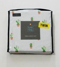 Cynthia Rowley TWIN Light Gray Cactus Sheet Set Sheets & Pillowcase / NEW