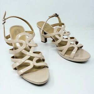 Naturalizer Cameron Nude Patent Strappy Heels Buckle Dress Shoe Womens 11 W Wide