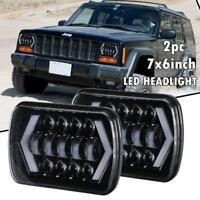 "2x 5x7"" 7x6Inch 150W LED Phares High Low DRL Lumière pour Jeep Cherokee XJ YJ"