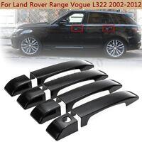 Gloss Black Door Handle Cover Trim Set For Land Rover Range Rover L322 2002-2012