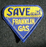 "FRANKLIN GAS EMBROIDERED SEW ON ONLY PATCH SAVE WITH VINTAGE 3"" x 2 7/8"""