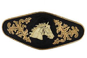 New Men Buckle Metal Cowboy Western Fashion Gold Horse Rodeo Black Long Heavy
