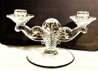 Vintage Cut Glass Candelabra style candle holder circa 1950