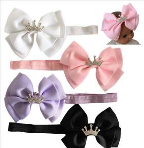 Princess Diamante Crown Hair Bow Headband Birthday Pink White Lilac Black 🇬🇧