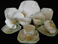 "Art Deco 1930s Roslyn Fine Bone China Tea Set ""Lily"" Pattern Hand Painted"