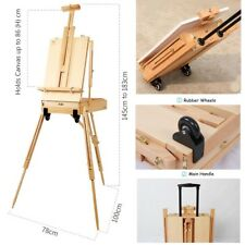 Tripod Beech Wood Easel Workstation Folding French Sketch Box with castors 183cm