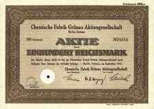Chemische Fabrik Grünau AG Berlin 1942  Fissan Degussa Illertissen Henkel 100 RM