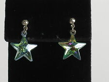 Iridescent crystal earrings stars drop dangle silver tone pierced colorful shiny