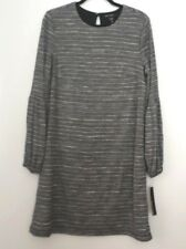 Maggy London Blouson Long Sleeve Striped Shimmer Shift Dress Gray Size 12 NWT
