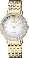 CITIZEN EX1483-84A Eco-Drive Ladies Solar Crystal Watch Gold RRP $450.00