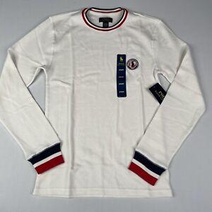 Polo Ralph Lauren Mens SMALL Waffle-Knit Long Sleeve Sleepwear Ivory, Patch 1967
