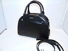 DKNY Heavy Nappa Leather Small Convertible Modern Moon Satchel / Crossbody Black