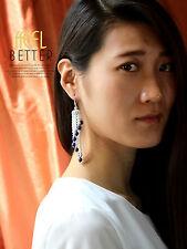 Boucles d`Oreilles Plaqué Or Blanc CZ Tassel Perle Bleu Mariée Mariage Retro G2