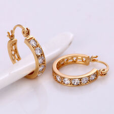 "9ct 9K Yellow ""Gold Filled""Ladies White Stones Small Hoop Earrings 22mm Gift,672"
