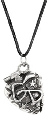 Alchemy Rocks Green Day Grenade Pendant - Mens Unisex Gothic Leather Necklace