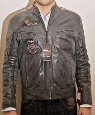 Mens New Vintage Style Black Genuine Leather Biker Badge Cafe Rider Jacket S M L